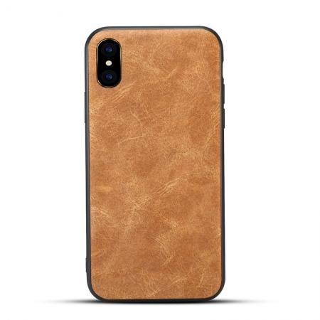 Slim Retro Leather Case Back Cover Skin For iPhone X - Light Brown