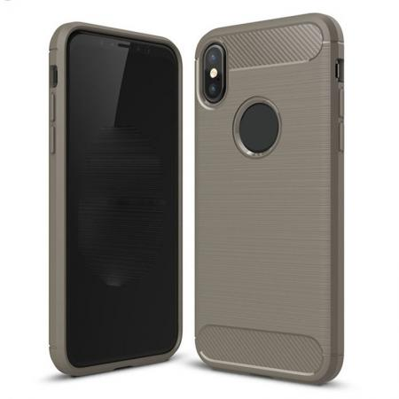 TPU Carbon Fiber Scratch Resilient Shock Absorption Protective Silicone Case for iPhone X - Grey