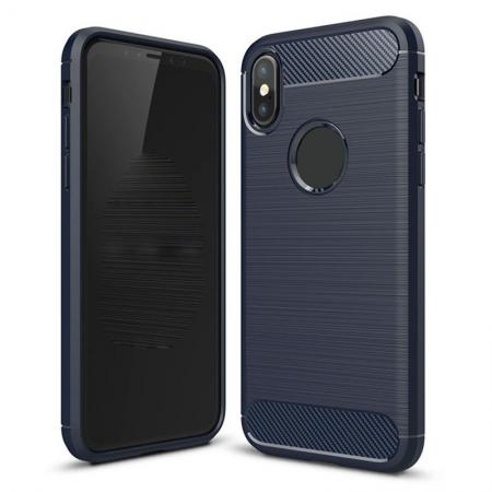 TPU Carbon Fiber Scratch Resilient Shock Absorption Protective Silicone Case for iPhone X - Navy
