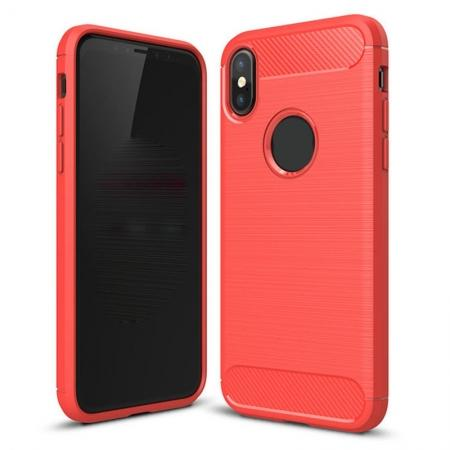 TPU Carbon Fiber Scratch Resilient Shock Absorption Protective Silicone Case for iPhone X - Red