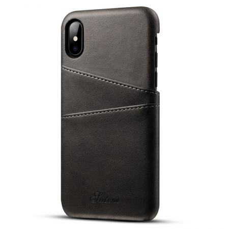 Ultra thin Leather Back Case Slim Card Slot Cover for iPhone X - Black