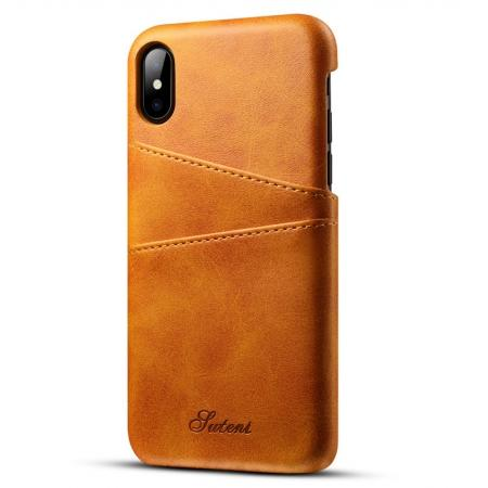 Ultra thin Leather Back Case Slim Card Slot Cover for iPhone X - Brown