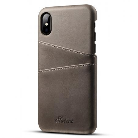 Ultra thin Leather Back Case Slim Card Slot Cover for iPhone X - Grey