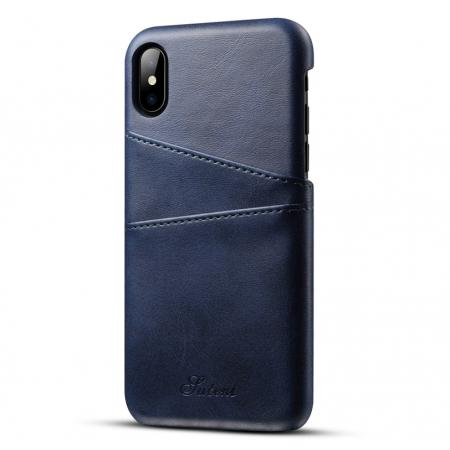 Ultra thin Leather Back Case Slim Card Slot Cover for iPhone X - Navy Blue