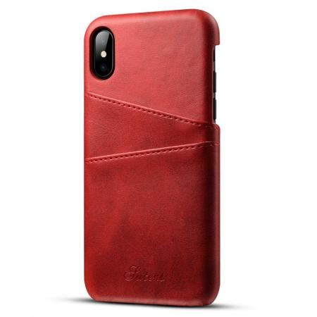 Ultra thin Leather Back Case Slim Card Slot Cover for iPhone X - Red