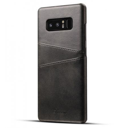 Wallet Credit Card Slots Leather Case Back Cover Skin for Samsung Galaxy Note 8 - Black