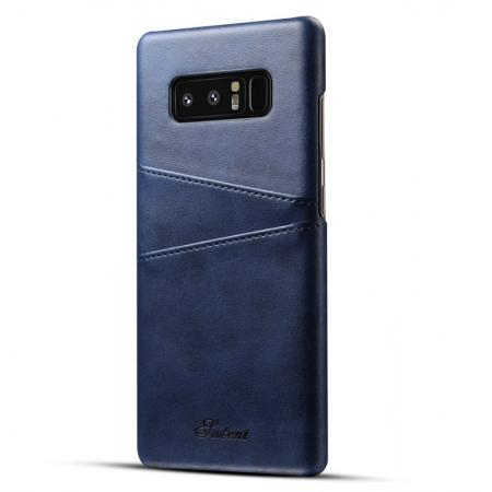 Wallet Credit Card Slots Leather Case Back Cover Skin for Samsung Galaxy Note 8 - Blue