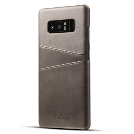 Wallet Credit Card Slots Leather Case Back Cover Skin for Samsung Galaxy Note 8 - Grey