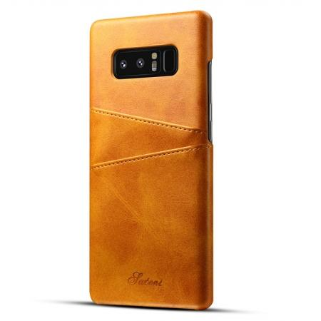 Wallet Credit Card Slots Leather Case Back Cover Skin for Samsung Galaxy Note 8 - Light Brown