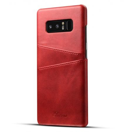 Wallet Credit Card Slots Leather Case Back Cover Skin for Samsung Galaxy Note 8 - Red