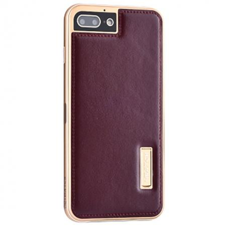 Aluminum Metal Bumper Frame+Genuine Leather Case Stand Cover For iPhone 8 4.7 inch - Gold&Wine Red