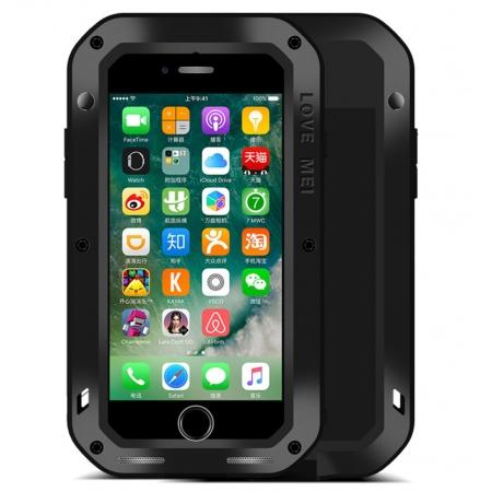 Aluminum Metal Gorilla Glass Shockproof Case for Apple iPhone 8 - Black
