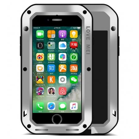 Aluminum Metal Gorilla Glass Shockproof Case for Apple iPhone 8 - Silver