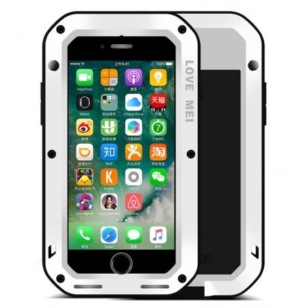 Aluminum Metal Gorilla Glass Shockproof Case for Apple iPhone 8 - White
