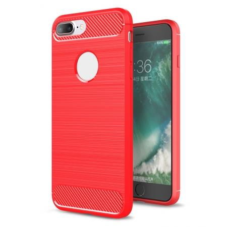 Brushed Metal Texture Soft TPU Silicone Carbon Fiber Protective Cover for iPhone 8 Plus - Red