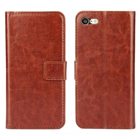 Crazy Horse Magnetic PU Leather Flip Case Inner TPU Cover for iPhone 8 Plus 5.5 inch - Brown