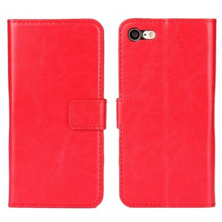 Crazy Horse Magnetic PU Leather Flip Case Inner TPU Cover for iPhone 8 Plus 5.5 inch - Red