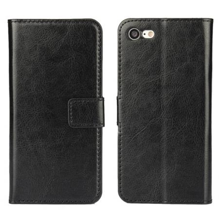 Crazy Horse Magnetic PU Leather Flip Case Inner TPU Frame for iPhone 8 4.7 inch - Black