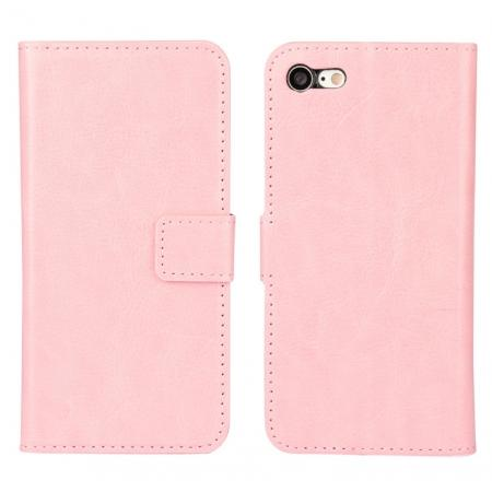 Crazy Horse Magnetic PU Leather Flip Case Inner TPU Frame for iPhone 8 4.7 inch - Pink