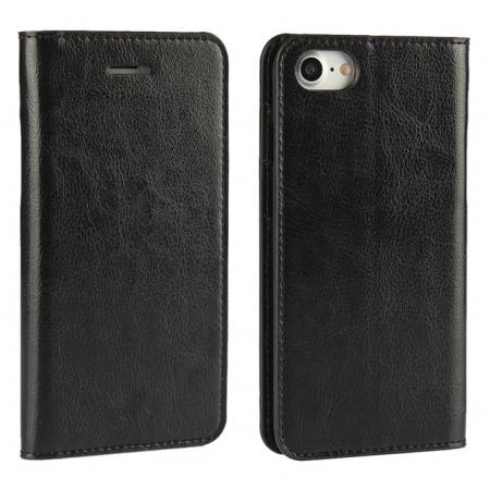 Crazy Horse Real Genuine Leather Wallet Stand Case for iPhone 8 4.7 inch - Black