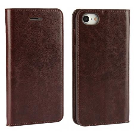 Crazy Horse Real Genuine Leather Wallet Stand Case for iPhone 8 4.7 inch - Coffee