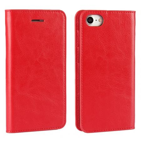 Crazy Horse Real Genuine Leather Wallet Stand Case for iPhone 8 4.7 inch - Red
