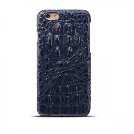 Crocodile Grain Genuine Cowhide Leather Back Cover Case for iPhone 8 4.7 inch - Blue
