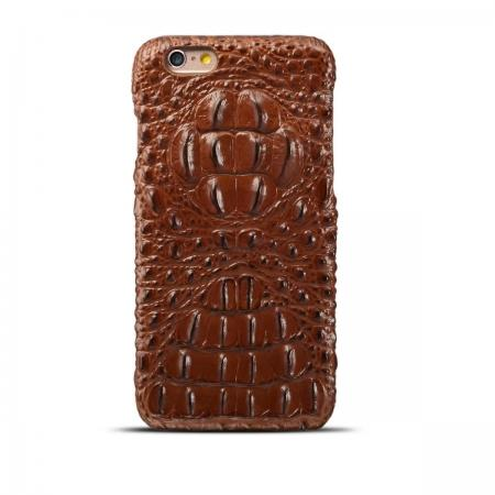 Crocodile Grain Genuine Cowhide Leather Back Cover Case for iPhone 8 4.7 inch - Brown
