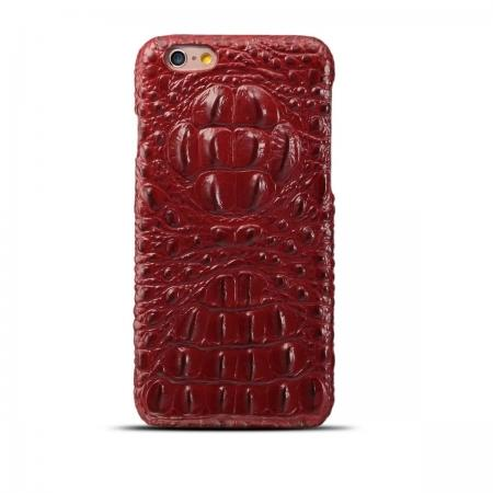 Crocodile Grain Genuine Cowhide Leather Back Cover Case for iPhone 8 4.7 inch - Red