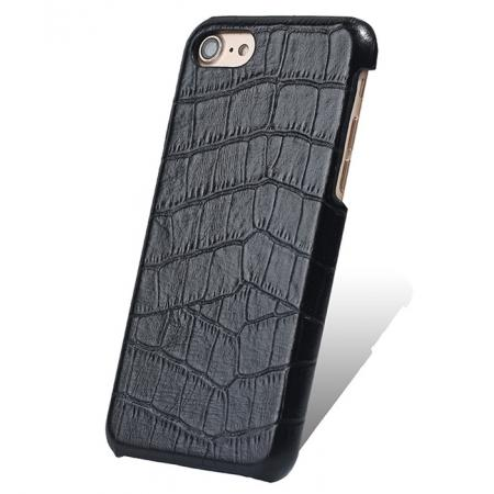 Crocodile Pattern Genuine Real Leather Back Case Cover for iPhone 8 4.7inch - Black
