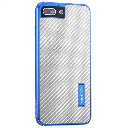 Deluxe Metal Aluminum Frame Carbon Fiber Back Case Cover For iPhone 8 4.7 inch - Blue&Silver