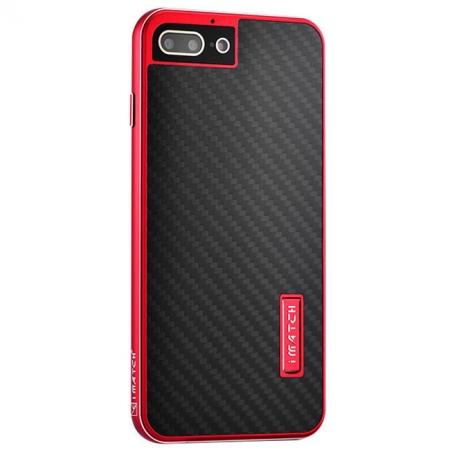 Deluxe Metal Aluminum Frame Carbon Fiber Back Case Cover For iPhone 8 4.7 inch - Red&Black