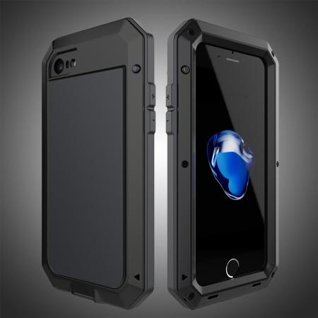 Full-Body Aluminum Metal Cover & Tempered Glass Screen Protector Case for iPhone 8 - Black