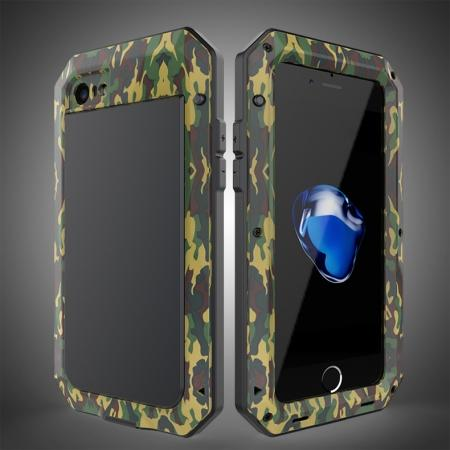 Full-Body Aluminum Metal Cover & Tempered Glass Screen Protector Case for iPhone 8 - Camouflage