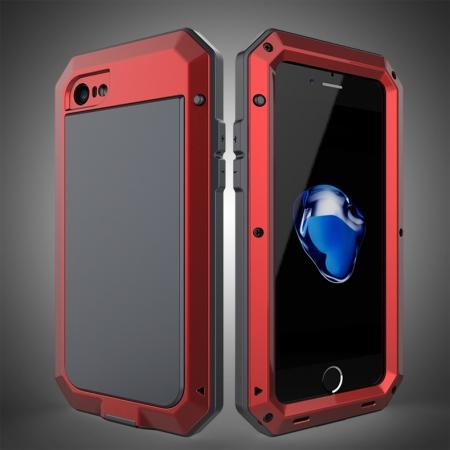 Full-Body Aluminum Metal Cover & Tempered Glass Screen Protector Case for iPhone 8 - Red