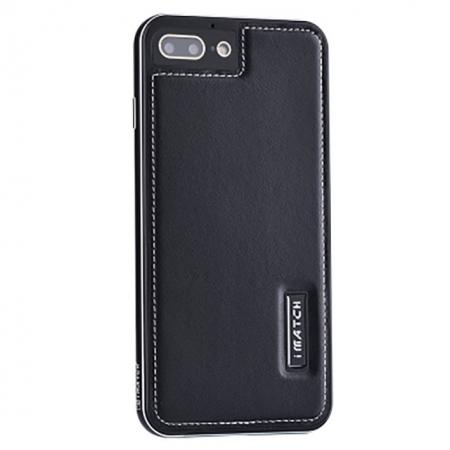 Genuine Leather Back+Aluminum Metal Bumper Case Cover For iPhone 8 Plus 5.5 inch - Black