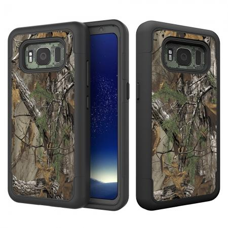 Hybrid Dual Layer Armor Defender Protective Case Cover For Samsung Galaxy S8 Active - Camo Tree