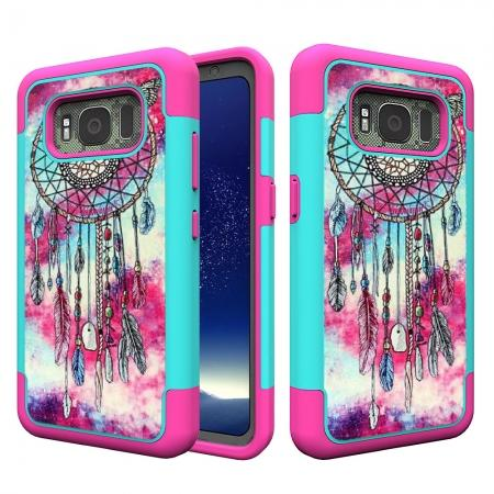 Hybrid Dual Layer Armor Defender Protective Case Cover For Samsung Galaxy S8 Active - Dream Catcher