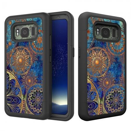 Hybrid Dual Layer Armor Defender Protective Case Cover For Samsung Galaxy S8 Active - Gear Wheel
