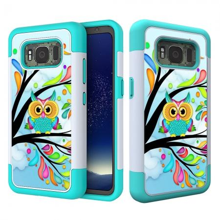 Hybrid Dual Layer Armor Defender Protective Case Cover For Samsung Galaxy S8 Active - Owl