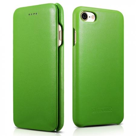 ICARER Curved Edge Luxury Series Genuine Cowhide Leather Case Cover For iPhone 8 - Green
