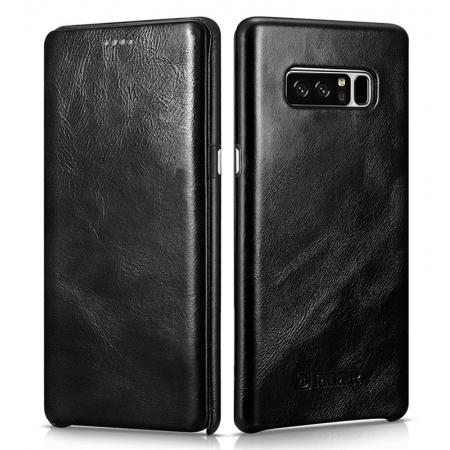 ICARER Curved Edge Vintage Genuine Leather Flip Case For Samsung Galaxy Note 8 - Black