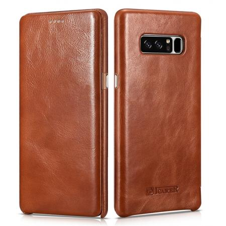 ICARER Curved Edge Vintage Genuine Leather Flip Case For Samsung Galaxy Note 8 - Brown