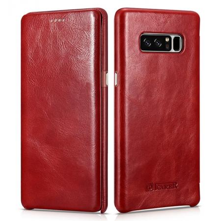 ICARER Curved Edge Vintage Genuine Leather Flip Case For Samsung Galaxy Note 8 - Red