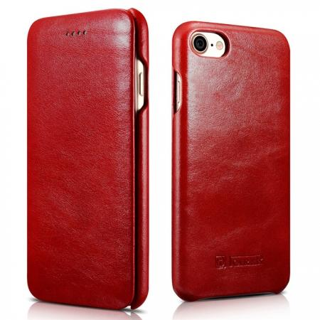 ICARER Curved Edge Vintage Series Genuine Leather Side Flip Case For iPhone 8 - Red