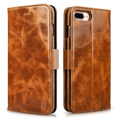 ICARER Genuine Oil Wax Leather 2in1 Flip Case + Back Cover For iPhone 8 Plus 5.5 inch - Brown