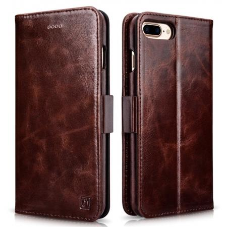 ICARER Genuine Oil Wax Leather 2in1 Flip Case + Back Cover For iPhone 8 Plus 5.5 inch - Coffee