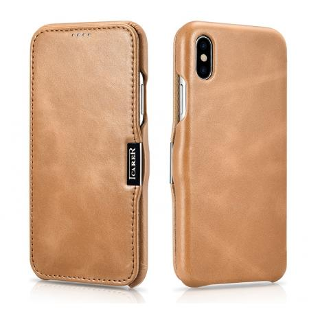 ICARER Vintage Classic Series Genuine Leather Flip Case for iPhone X - Khaki