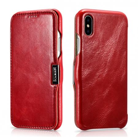 ICARER Vintage Classic Series Genuine Leather Flip Case for iPhone X - Red