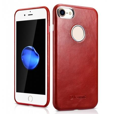 ICARER Vintage Genuine Leather Back Case Cover for iPhone 8 4.7 inch - Red
